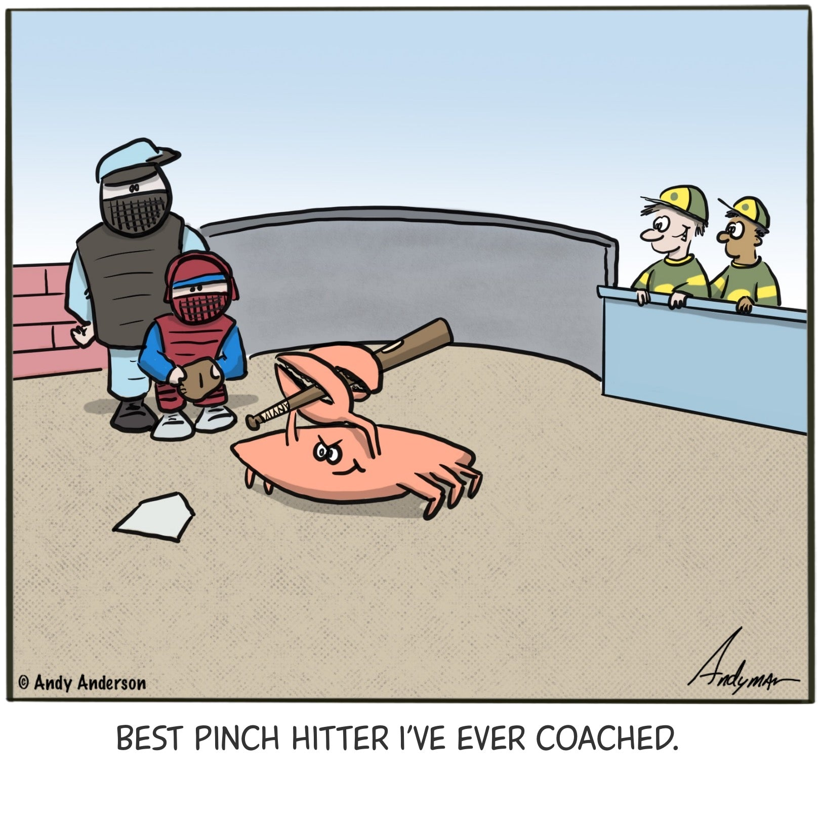 Cartoon about having a crab as a pinch hitter by Andy Anderson
