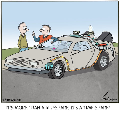 Cartoon about using a time-machine for ridesharing making it a time-share