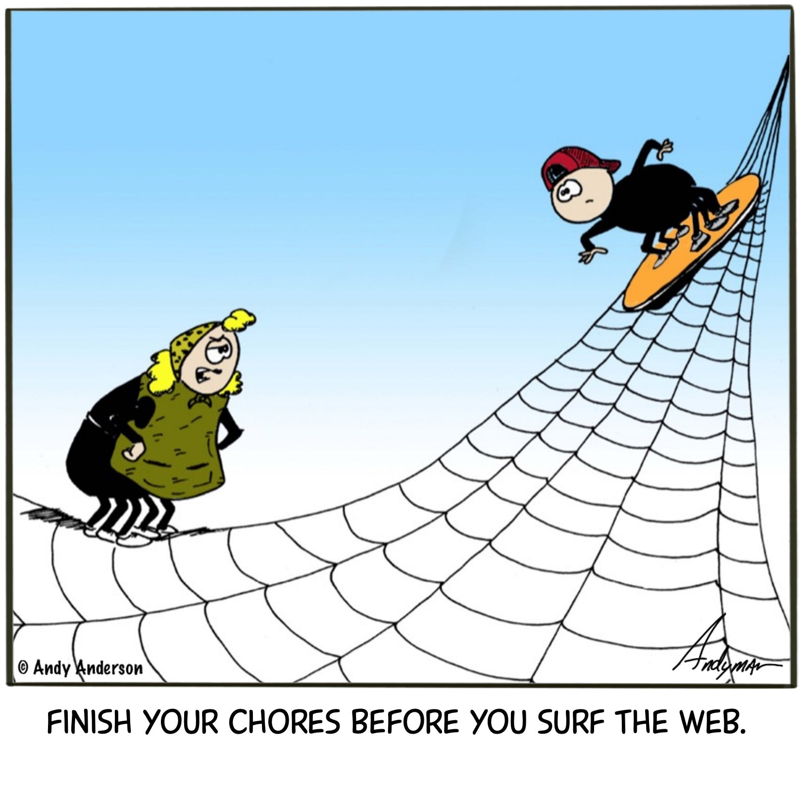 Cartoon about a spider surfing the web by Andy Anderson