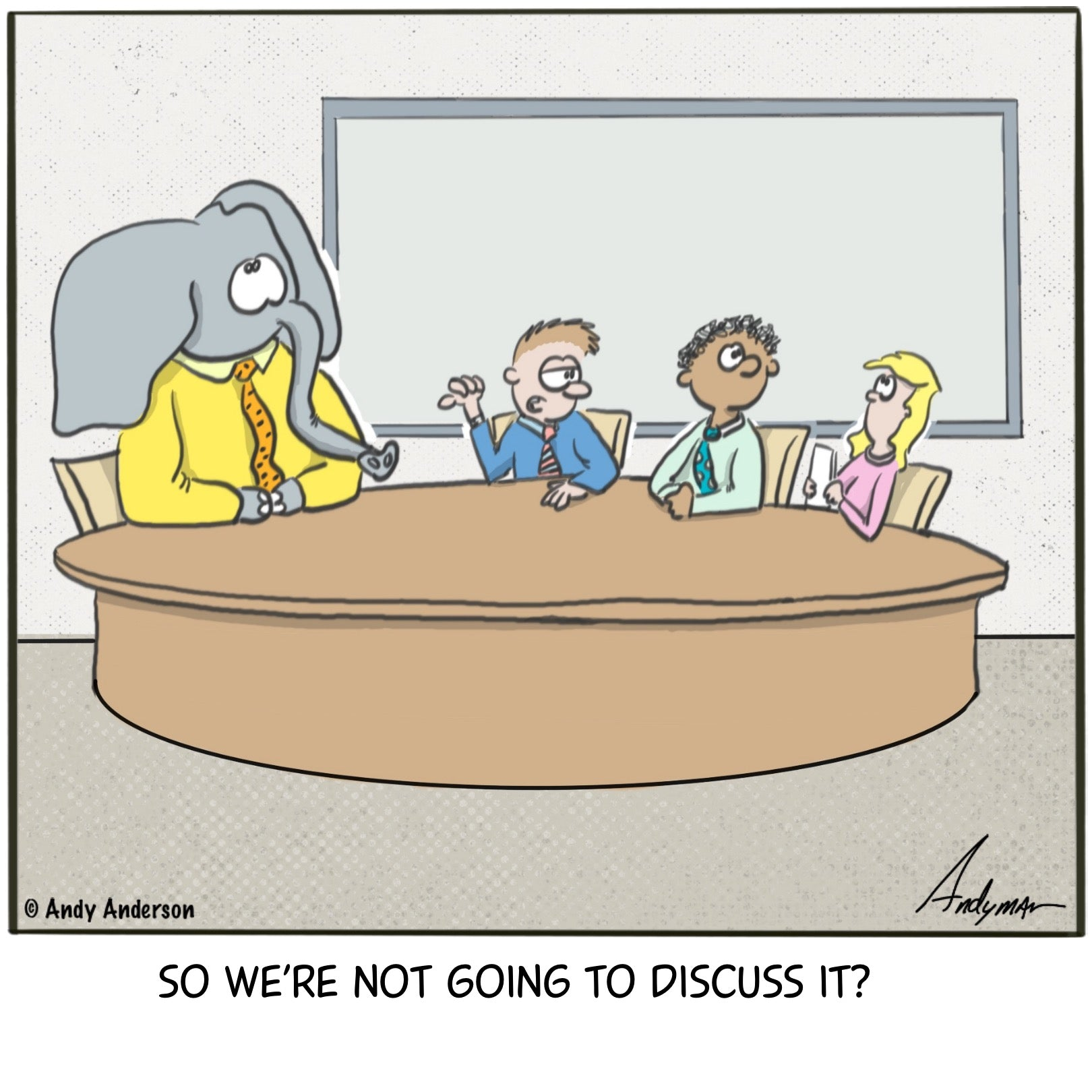 Cartoon about no one willing to talk about an elephant in the room
