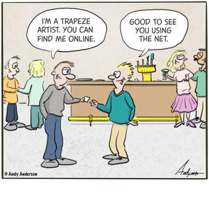 Trapeze artist online cartoon by Andy Anderson
