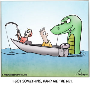 Fishing for dragons cartoon by Andy Anderson