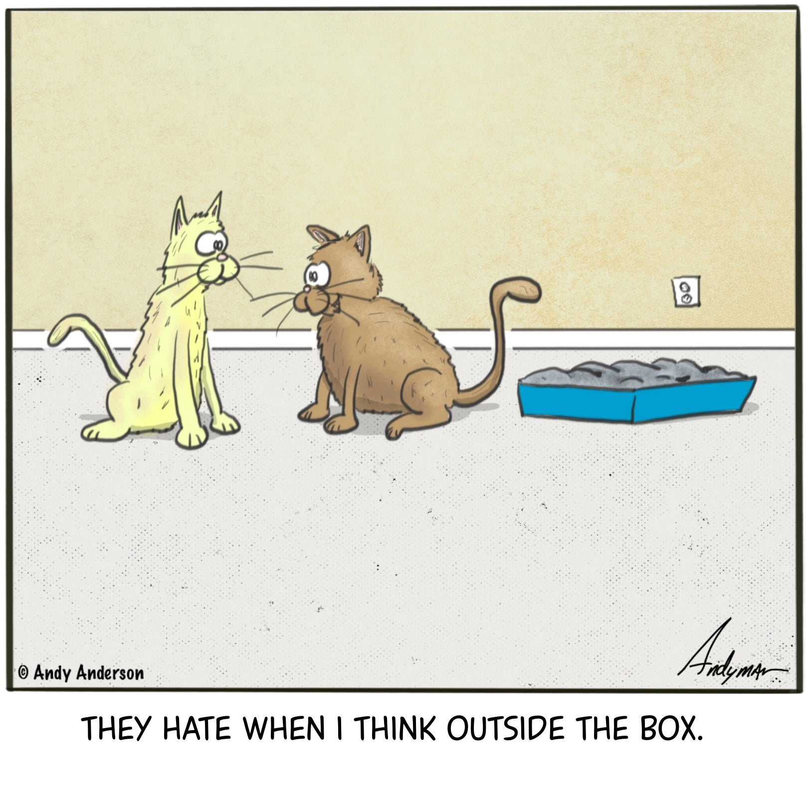 Think outside the box cartoon by Andy Anderson