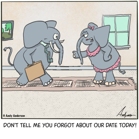 Elephant forgetting about date cartoon by Andy Anderson