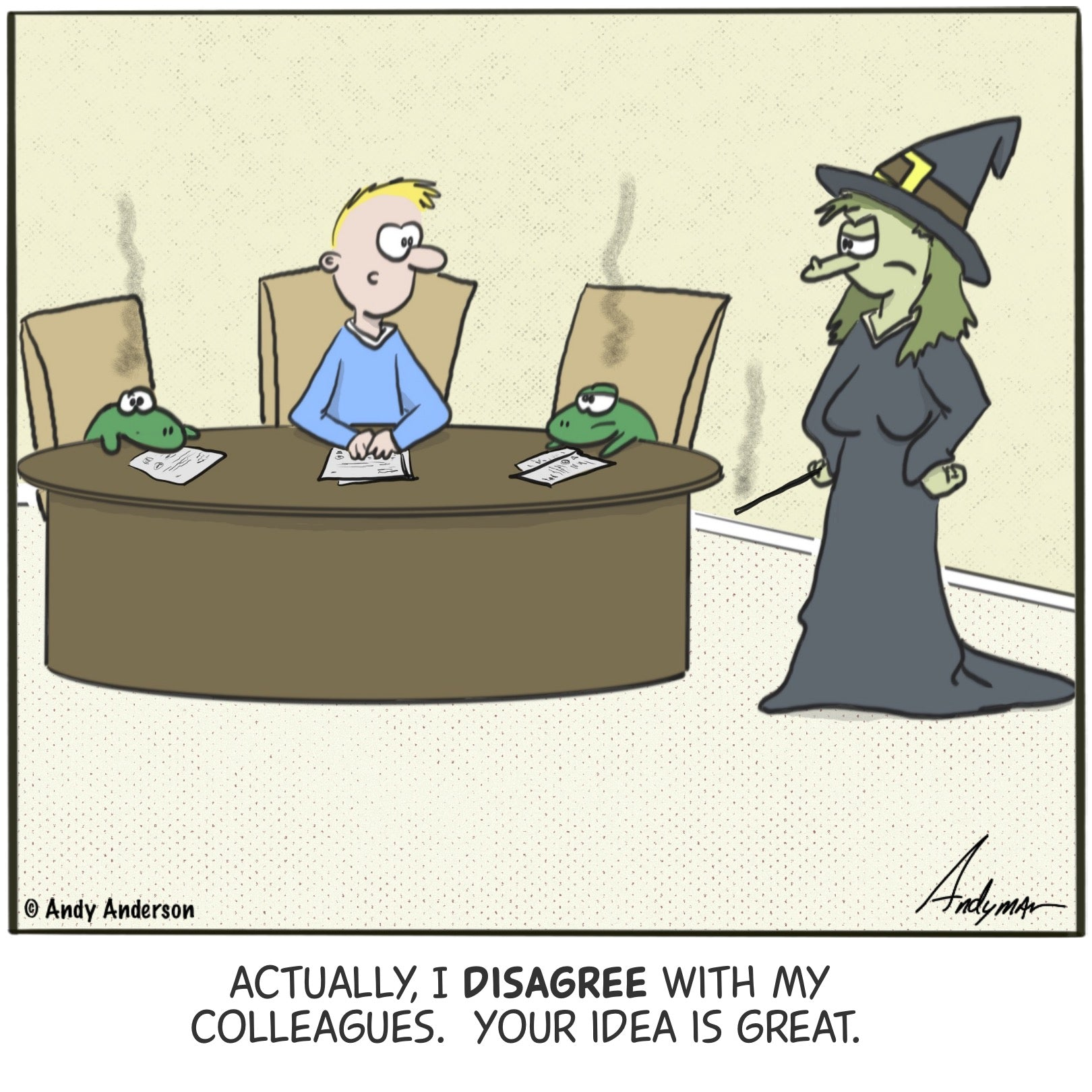 Cartoon about a witch who turns employees into frogs for disagreeing