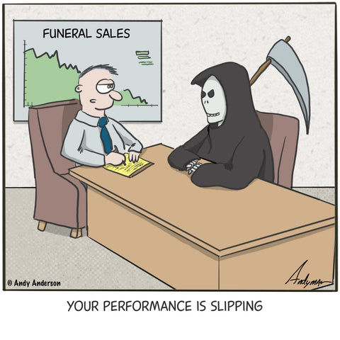 Cartoon about the Grim Reaper and declining sales performance by Andy Anderson