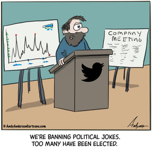 Cartoon about banning political jokes on Twitter