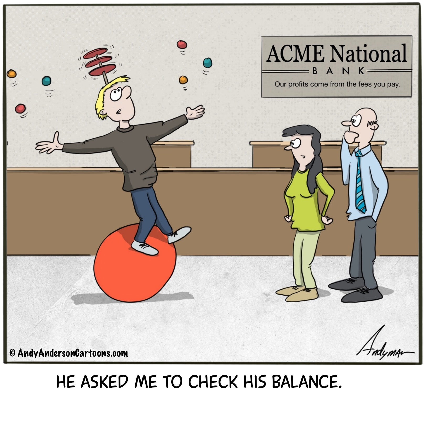 Check his balance cartoon