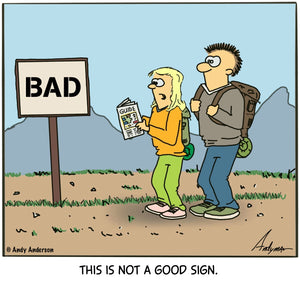 "Cartoon about a sign labeled ""bad"" is not a good sign"