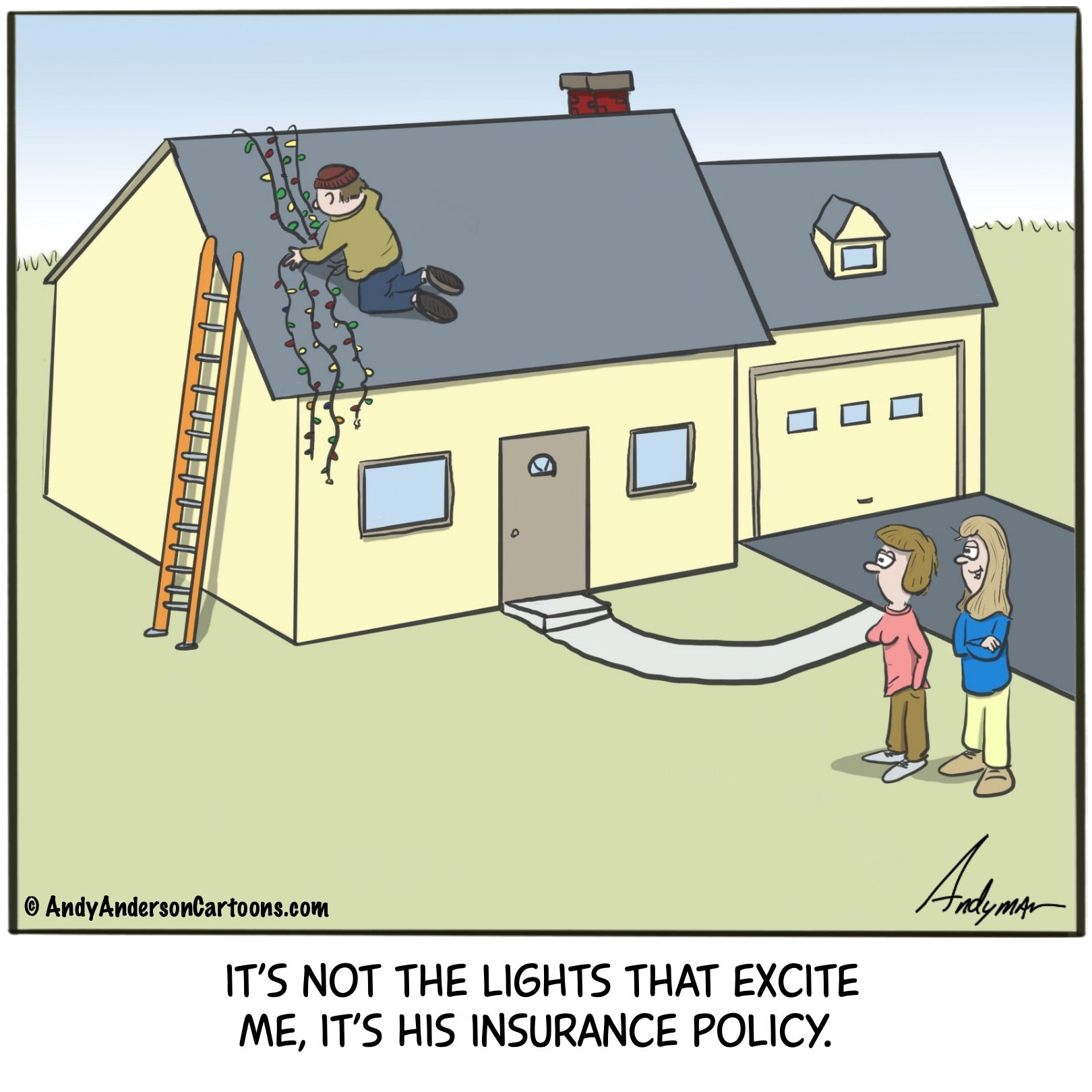 Cartoon about holiday lights and life insurance by Andy Anderson