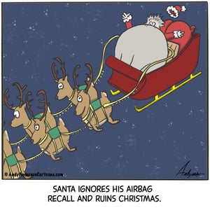 Cartoon about Santa's airbag ruining Christmas by Andy Anderson