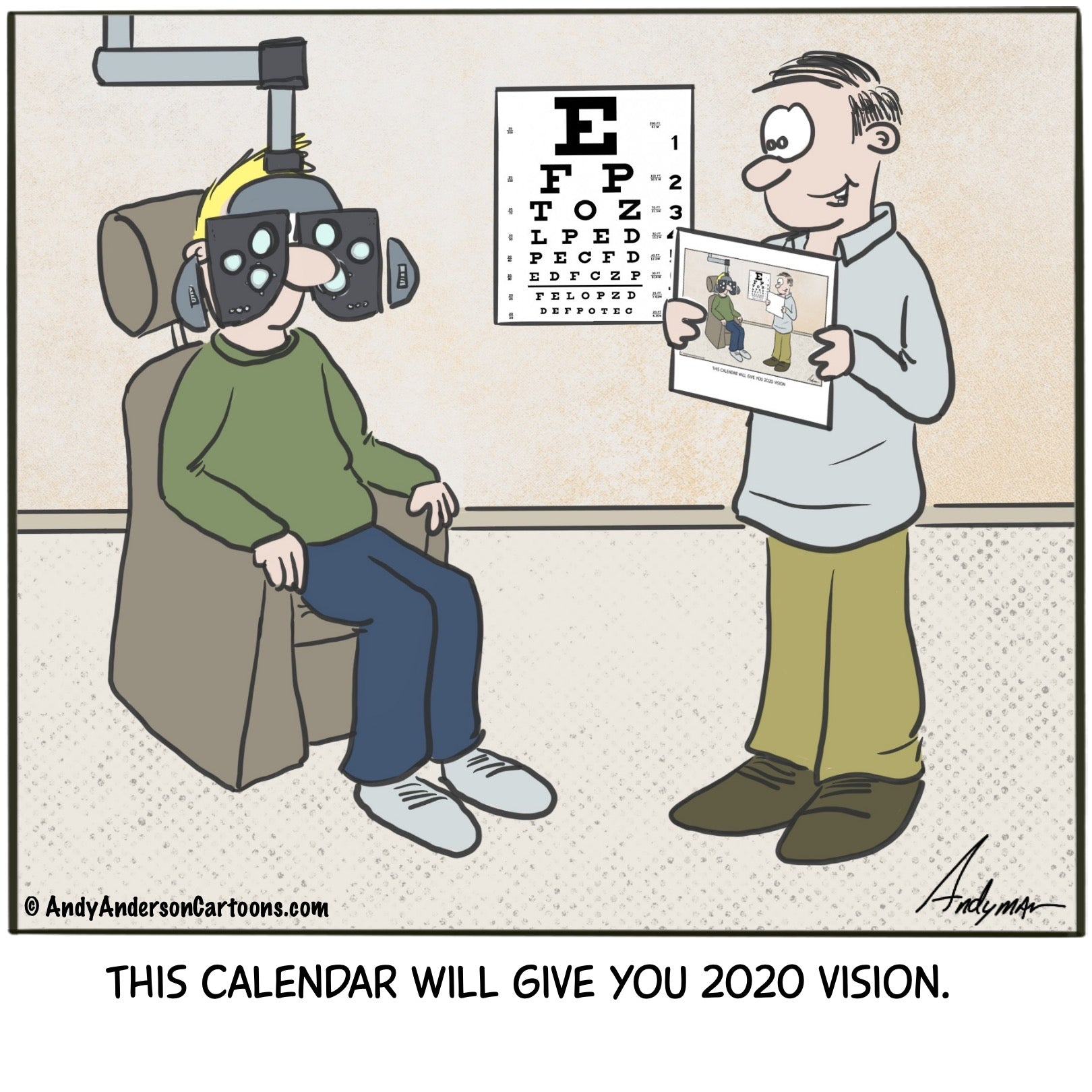 Cartoon about a calendar providing 2020 vision by Andy Anderson