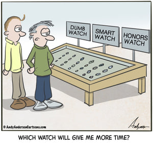 Cartoon about choosing the right smart watch or wearable by Andy Anderson