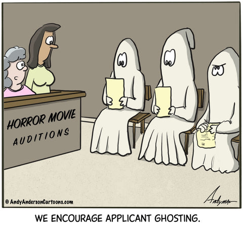 Cartoon about applicant ghosting by Andy Anderson