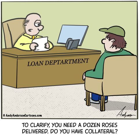 Cartoon about a man getting a loan to buy flowers for Valentine's Day