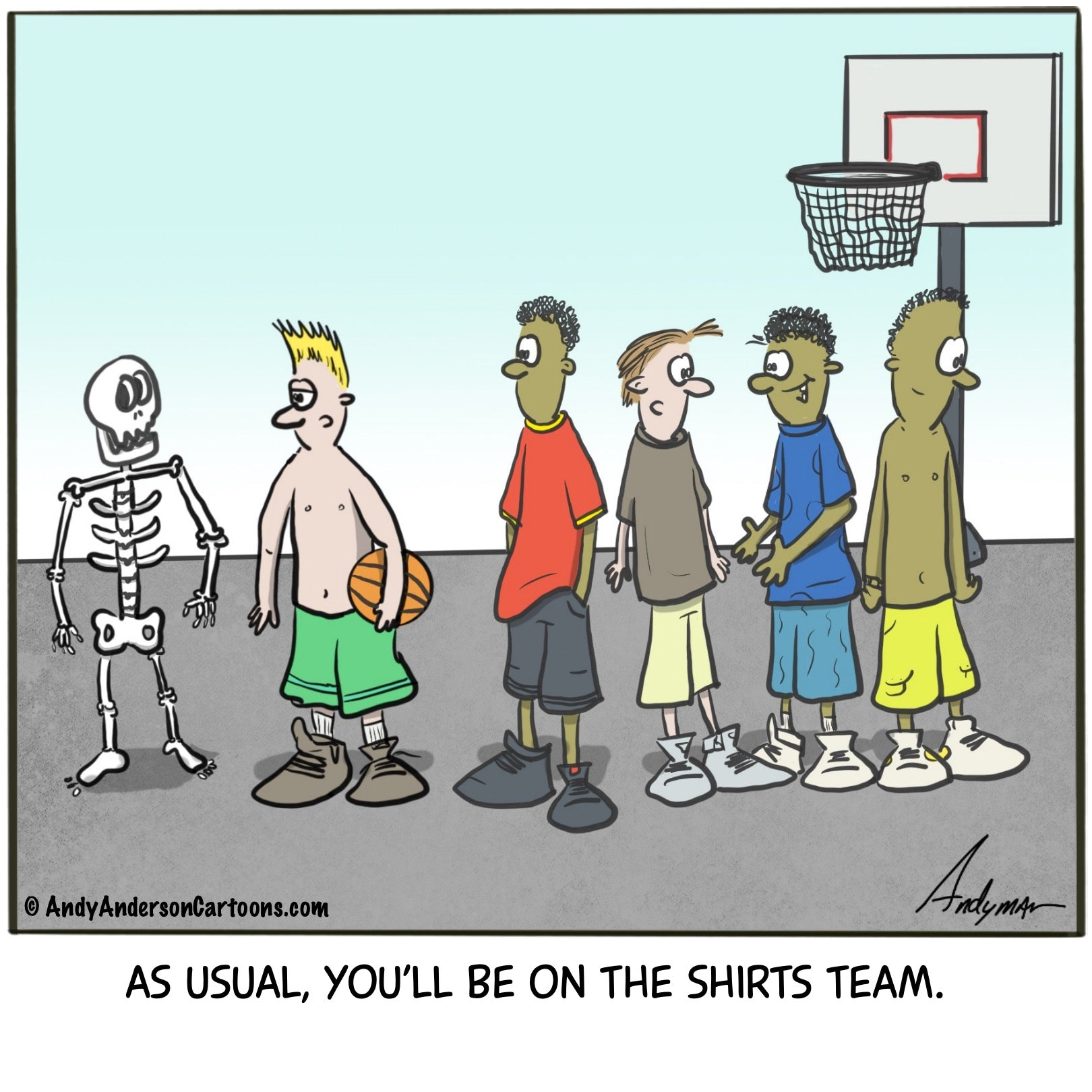 Cartoon about skeleton playing basketball on the shirts team