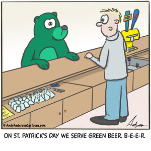 Cartoon about serving green beer to a green bear on St. Patrick's Day