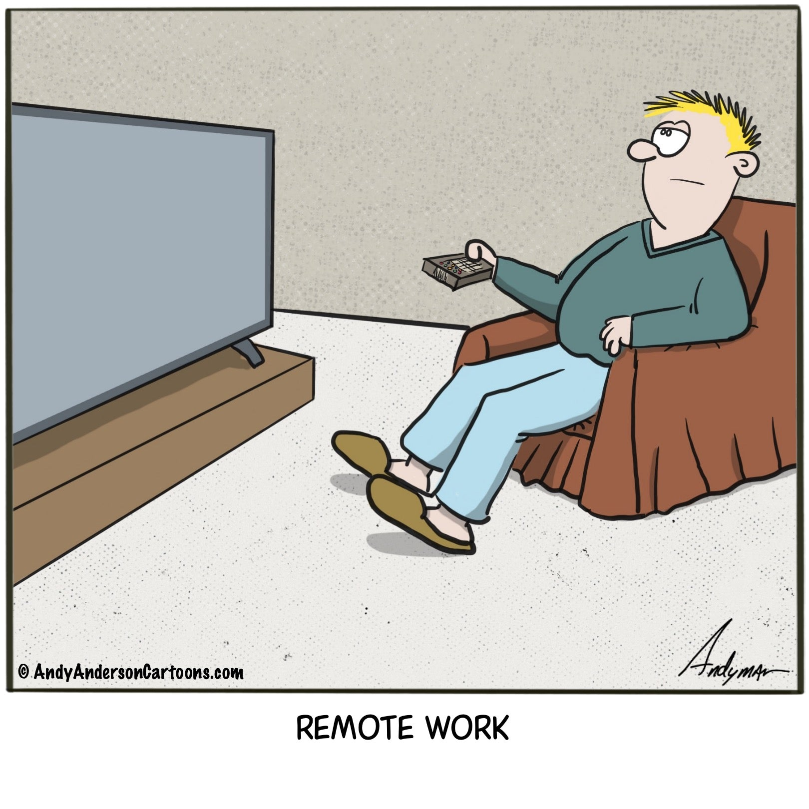 Cartoon about the misconception of remote work