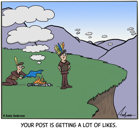 Cartoon about using smoke signals as social media with lots of likes
