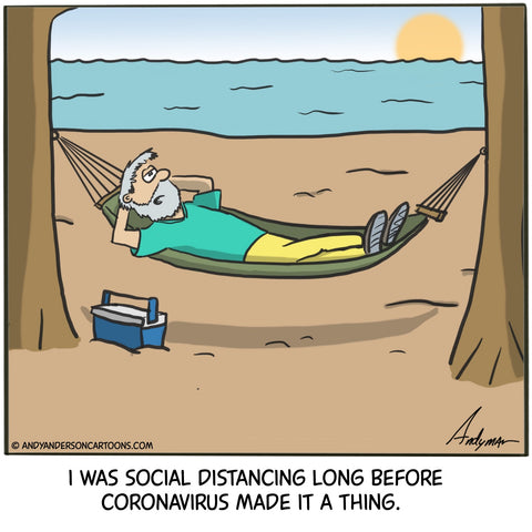Cartoon about anti-social practicing social distancing during coronavirus crisis by Andy Anderson
