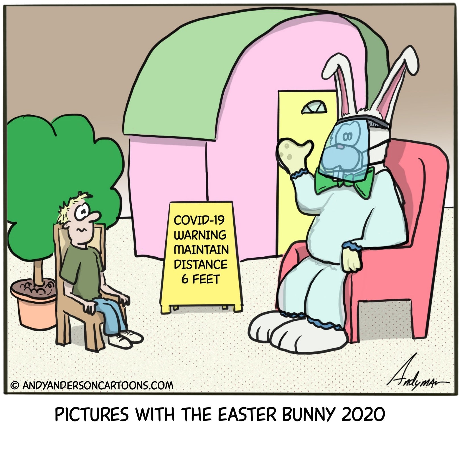 Cartoon about pictures with the Easter Bunny during the COVID-19 crisis
