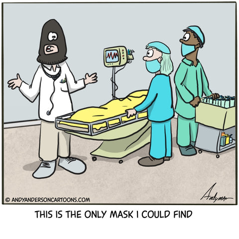 Using a ski mask instead of a normal health face mask due to the COVID-19 crisis cartoon by Andy Anderson