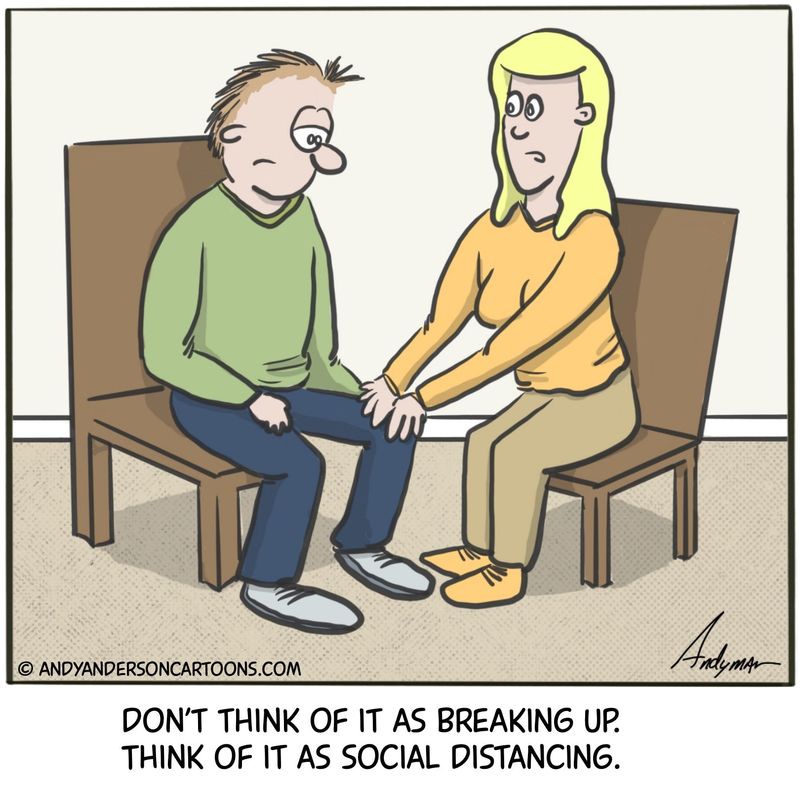 Cartoon about breaking up during the COVID19 crisis