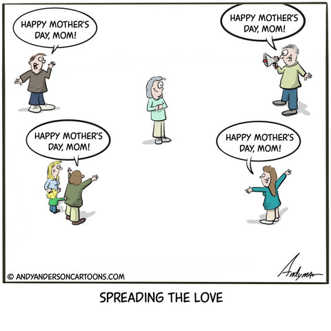 Mother's Day cartoon during the COVID19  social distancing crisis