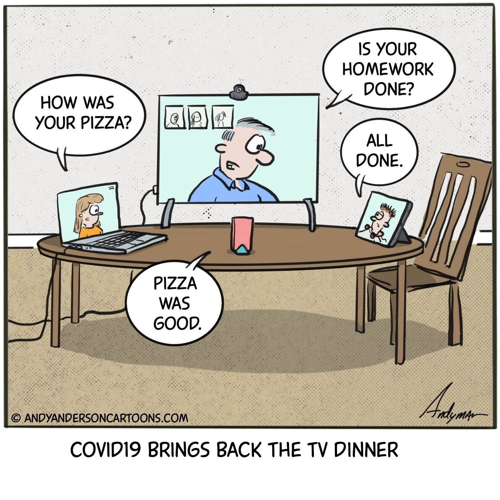 Cartoon about COVID19 brining back the TV dinner