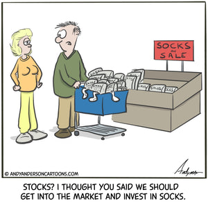 Investing in socks cartoon