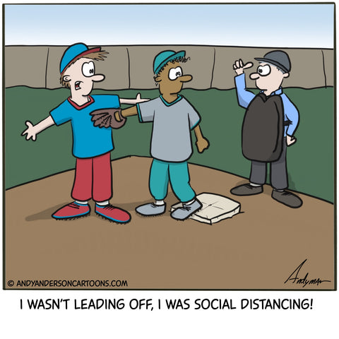 Cartoon about baseball in 2020 - leading off or social distancing