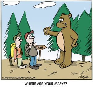 Cartoon about hikers being denied access to the outdoors because of no masks