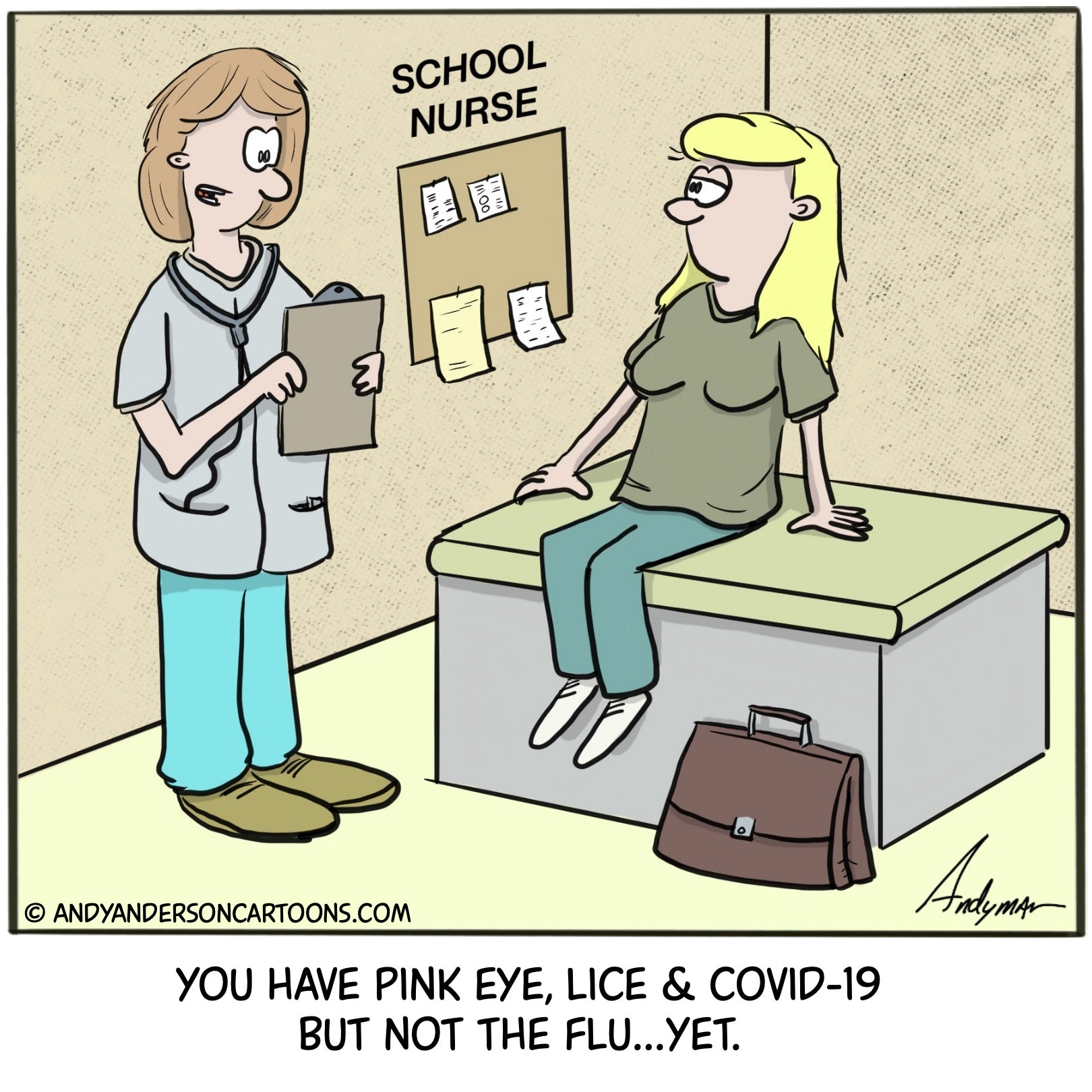 Cartoon about teachers going back to school and getting pink eye, lice COVID-19 but not the flu yet