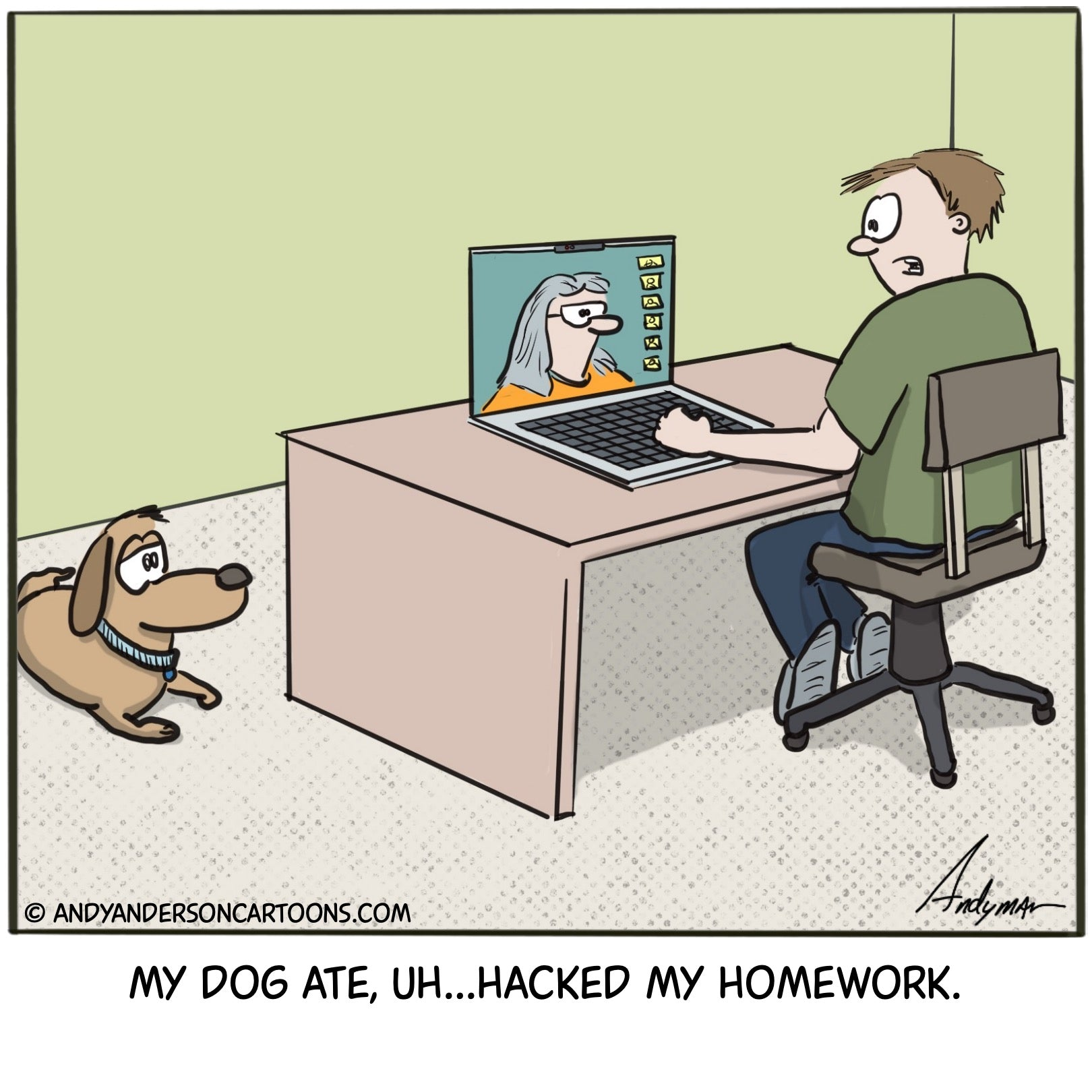 Cartoon about a student claiming his dog ate, er hacked his homework for online learning