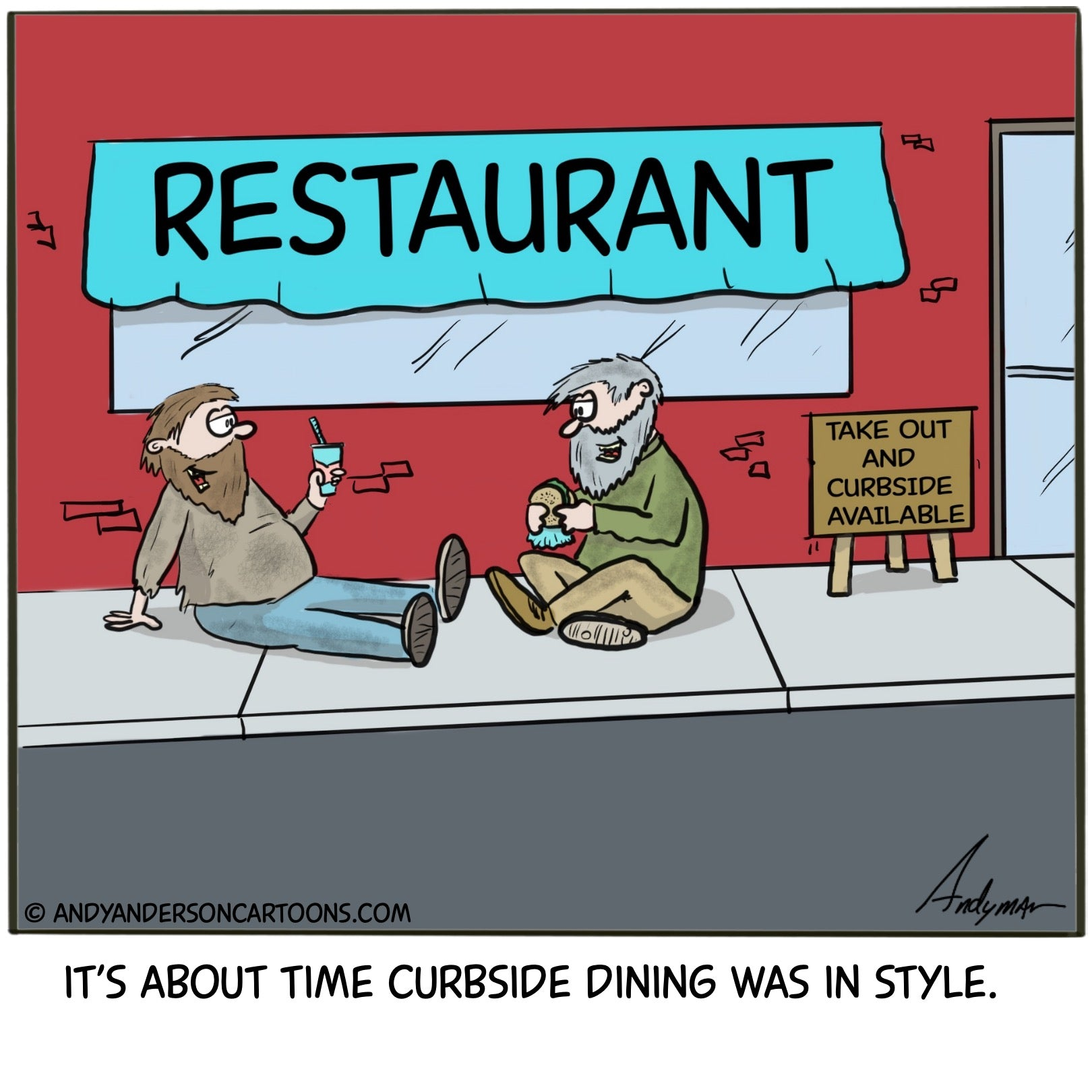 Cartoon about curbside dinning