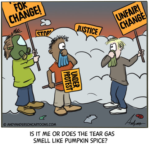 Cartoon about tear gas smelling like pumpkin spice