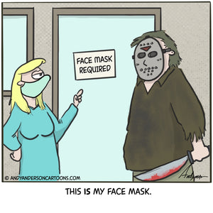 Cartoon about Jason from Friday 13th wearing a face mask