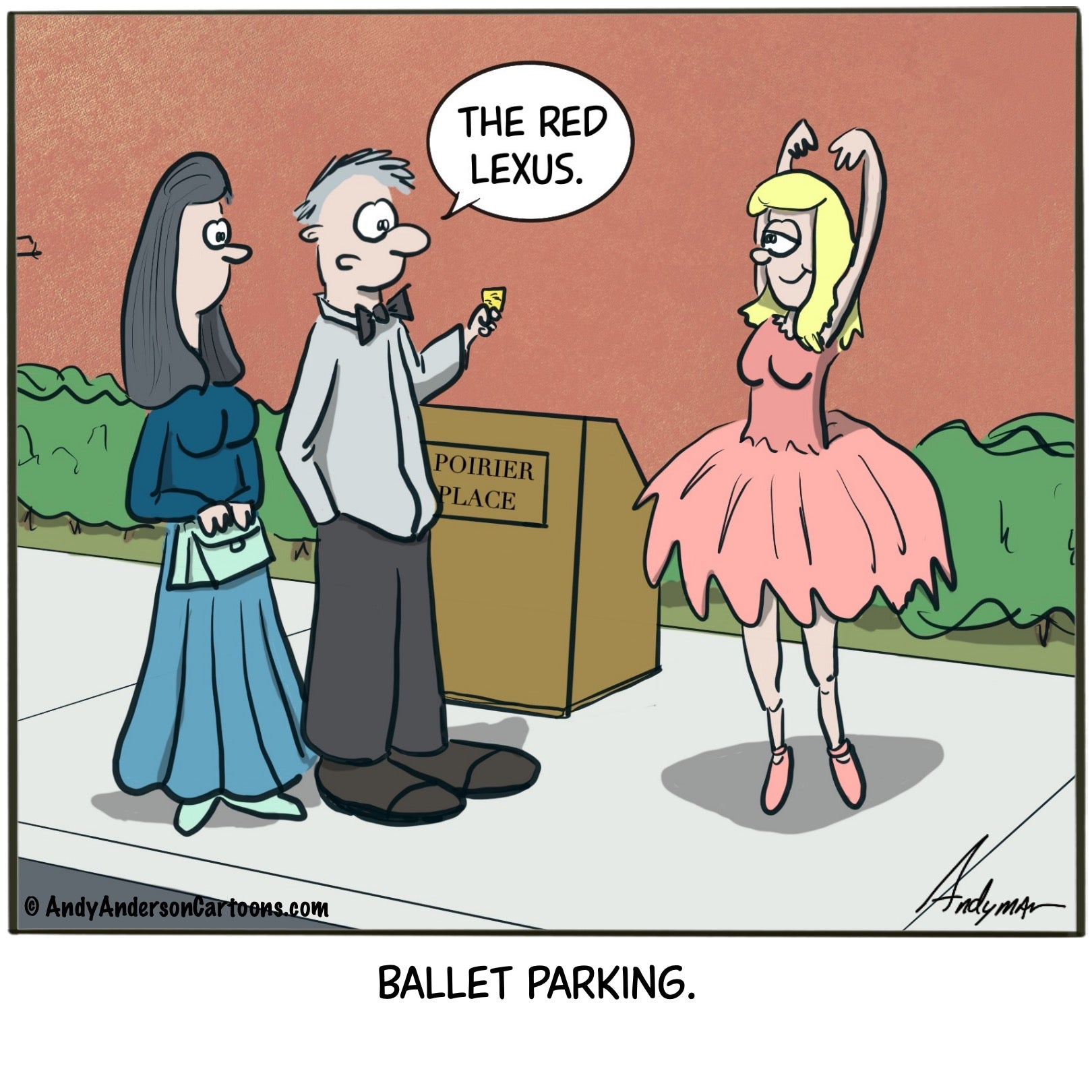 Cartoon about ballet parking instead of valet parking