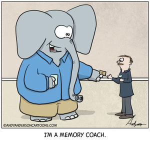 Cartoon about an elephant as a memory coach