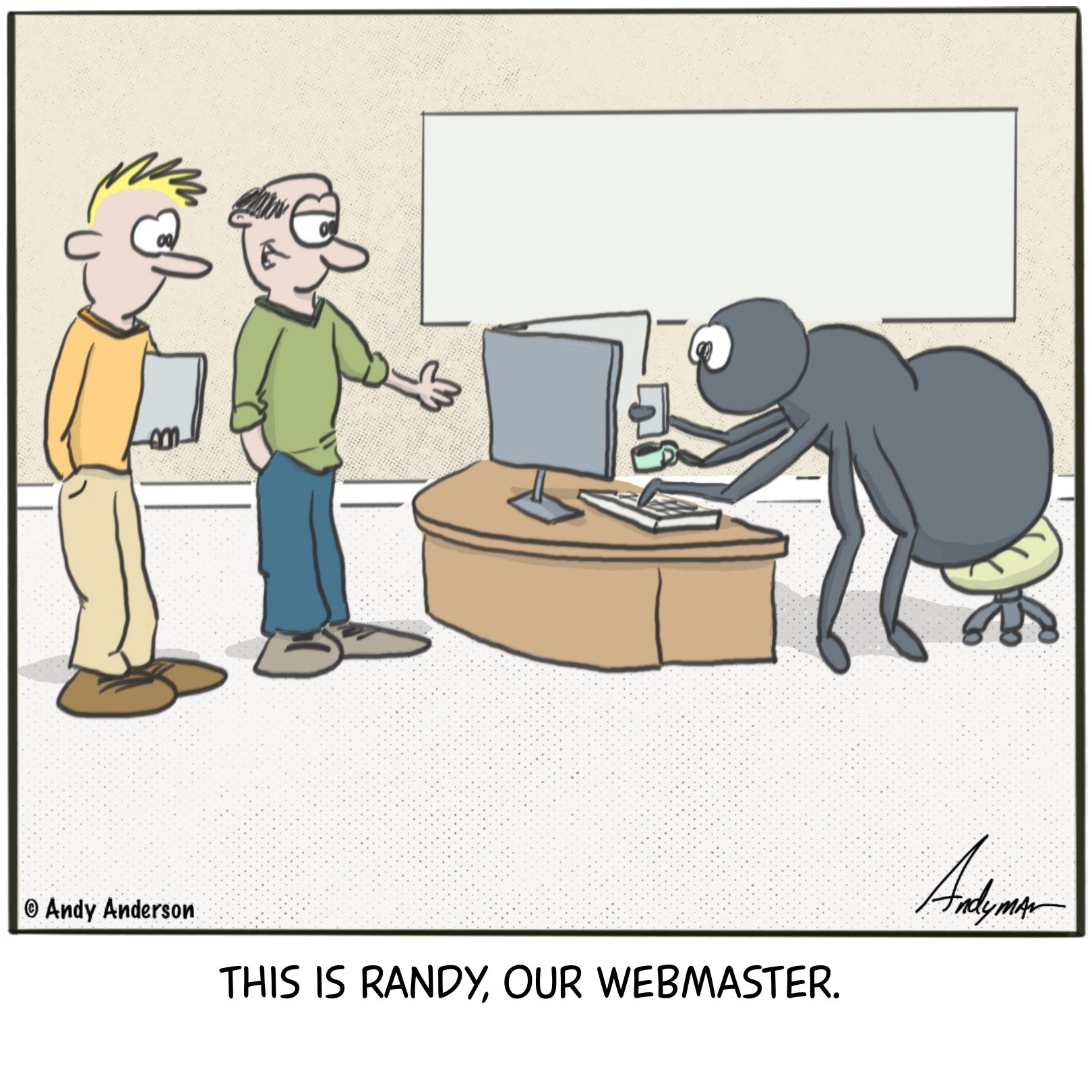 Cartoon about a spider working as a webmaster by Andy Anderson