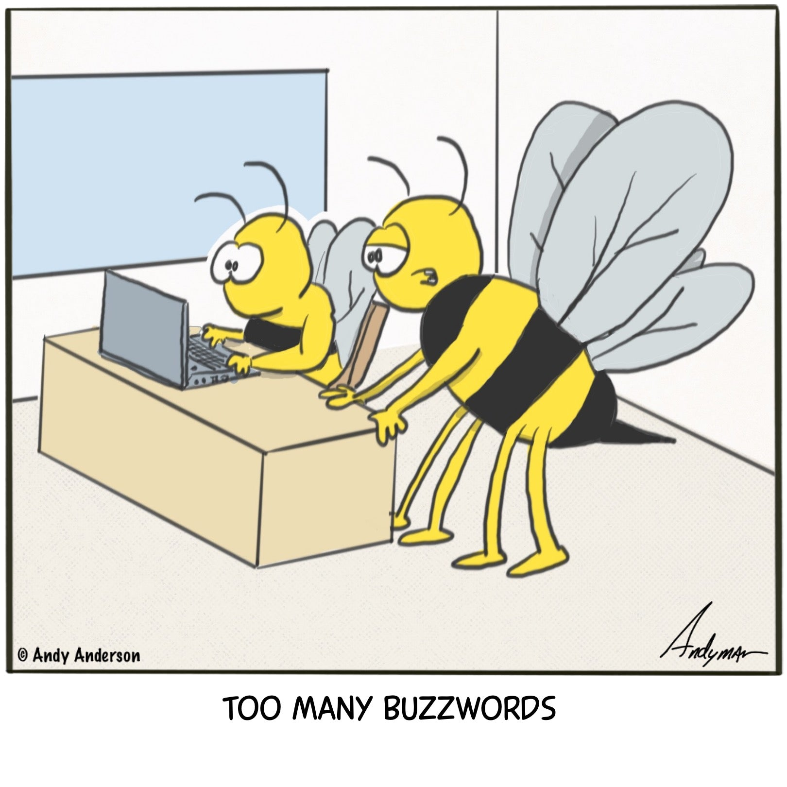 Cartoon about bees using too many buzzwords by Andy Anderson