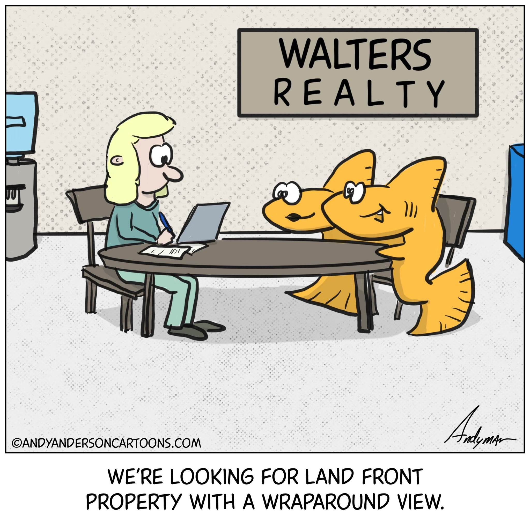 Cartoon about fish sitting with realtor looking for land front property