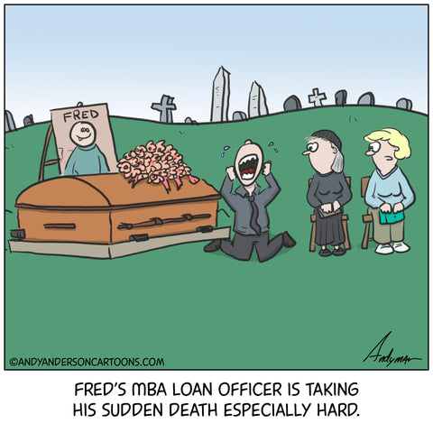 Cartoon about MBA student loan debt