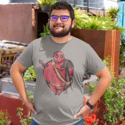 Guy wearing funny t-shirt of a fat Deadpool