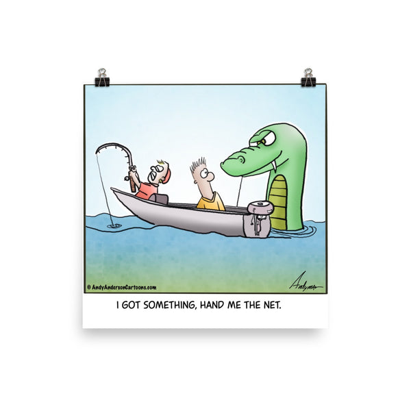 Fishing for dragons cartoon print
