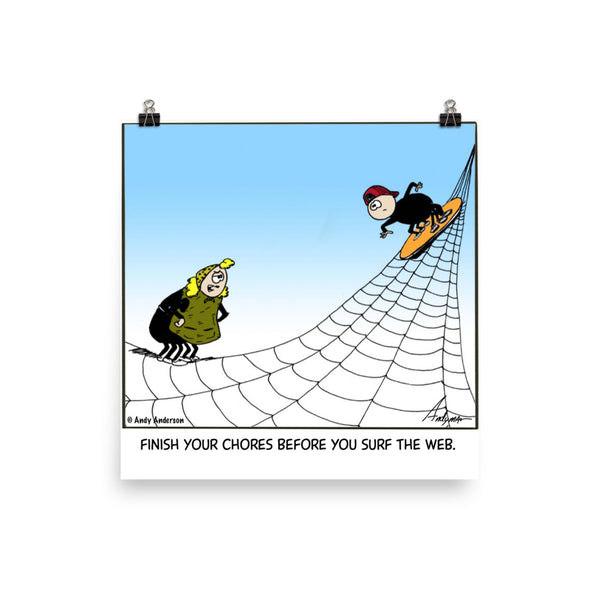 Surf the web cartoon print