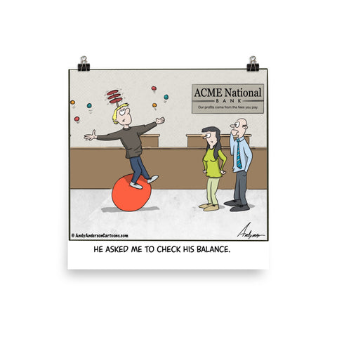 Check his balance cartoon print