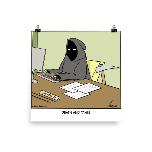Death and taxes cartoon print