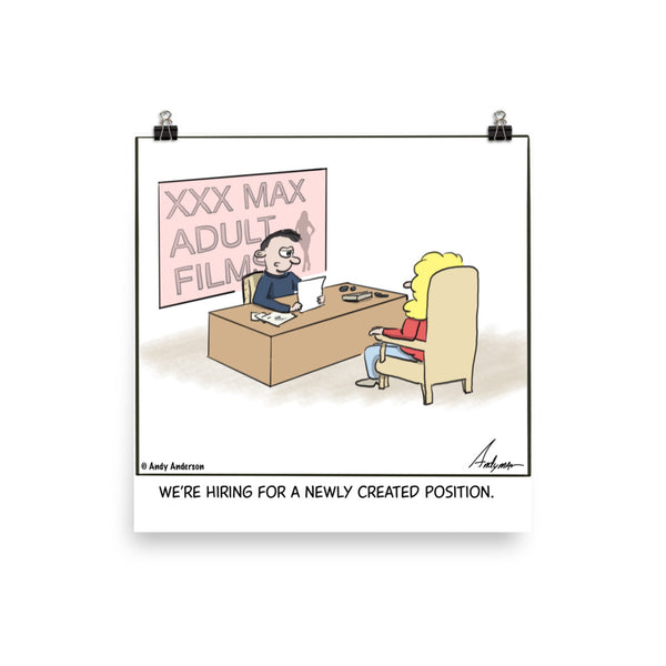 Hiring for new position cartoon print