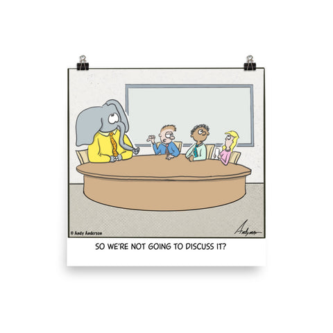 Elephant in the room cartoon print
